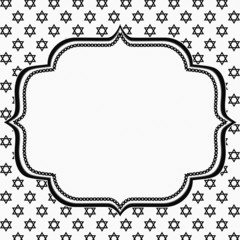 Black and White Star of David Patterned Background with Embroide