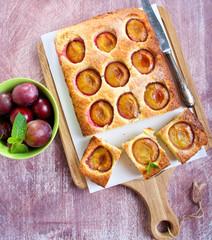 Coconut and plum cake