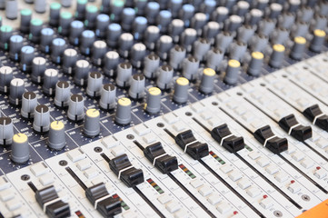 Closeup sound mixing control board