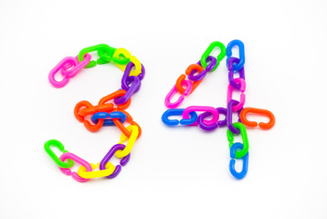 3 and 4 Number, Created by Colorful Plastic Chain