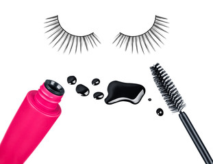 makeup accessories, tube and a brush of mascara and false eyelas