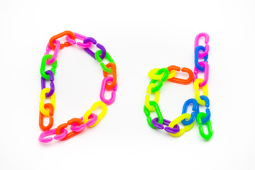 D and d Alphabet, Created by Colorful Plastic Chain