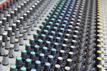 Closeup sound mixing control board