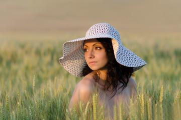 Girl in a Summer Wheat Field