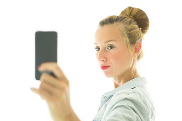 Young woman posing for selfie
