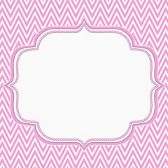 Pink and White Chevron Zigzag Frame Background