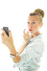 Young woman taking a selfie using smartphone