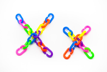 X and x Alphabet, Created by Colorful Plastic Chain