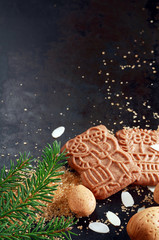 Traditional speculoos Dutch Christmas buscuits