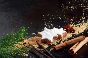 Crunchy star shaped Christmas biscuits