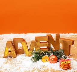 Colorful orange Advent still life background