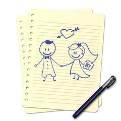 Dessin au stylo : Mariage