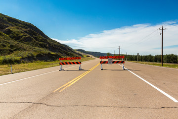 road closed at the road to drumheller