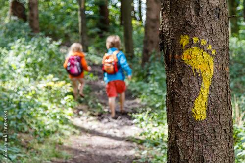 Leinwandbild Motiv Barfuß auf dem Waldweg
