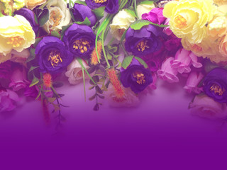 Bouquet Flowers with Purple Background