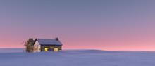 "Постер, картина, фотообои ""Winter snow landscape at sunset with solitude cabin."""