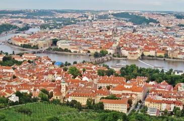 Prag, Blick vom Laurenziberg auf Stadt und Moldau