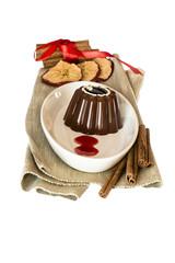 Chocolate dessert and cinnamon apple