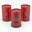 Red oil barrels isolated on white background.High resolution