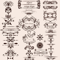 Vector set of decorative vintage calligraphic elements