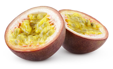 Two halves of passion fruit isolated on white with clipping path
