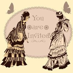 Wedding invitation with vintage ladies