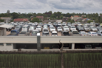 Parking on the roof of shopping center in Vientiane, Laos
