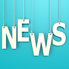 News word in blue background