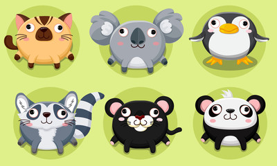 Cartoon and vector cute animals