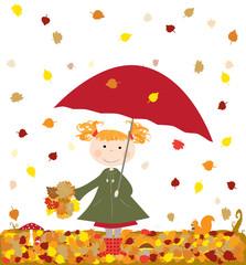 jesień, dziewczynka z parasolką - wektory