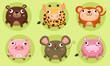 Set of cute animals vector Icon