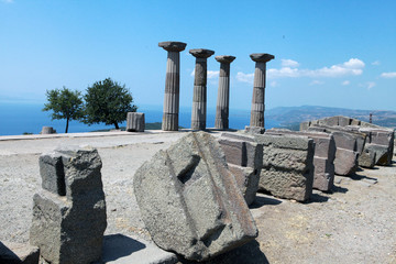 Ruins of the Temple of Athena in Assos in Canakkale, Turkey.