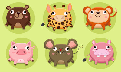 Set of cute animals vector Icon