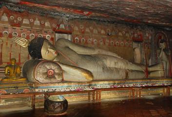Reclining Buddha in Dambulla Rock Cave