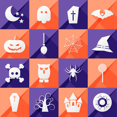 set of sixteen halloween icons