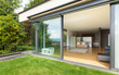 Leinwanddruck Bild - outdoor of a modern house, garden