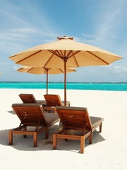 Relaxing in Sunny Beach of Maldives