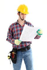 Contractor Examines Blueprint