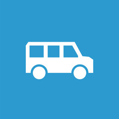 school bus icon, white on the blue background .