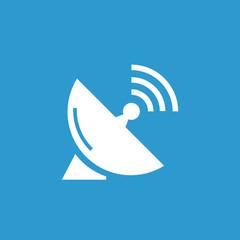sputnik antenna icon, white on the blue background .