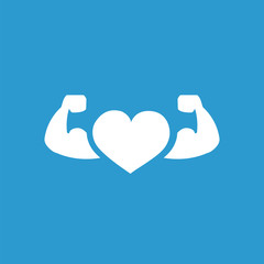 heart with muscle arms icon, white on the blue background .