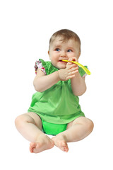 Little baby with spoon