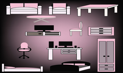 girly furniture set of icons
