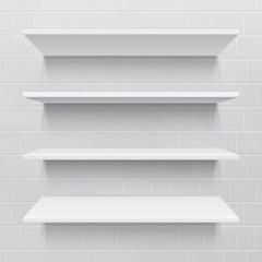 Four white realistic shelves against brick wall