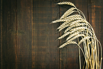 wheat on the old wooden table