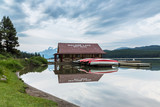 canoe boathouse at Maligne Lake in Jasper poster