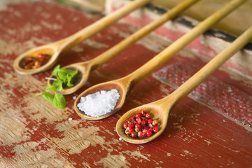 various spices on wooden spoons, selective focus