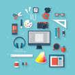 Flat vector illustration concept of designer desktop