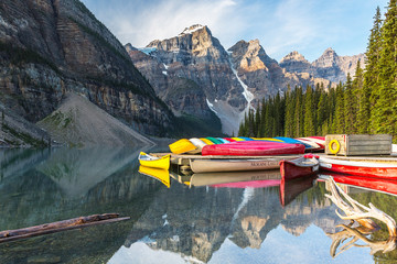 Canoes on Moraine Lake at the morning