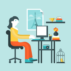 Flat design vector illustration of woman working on computer